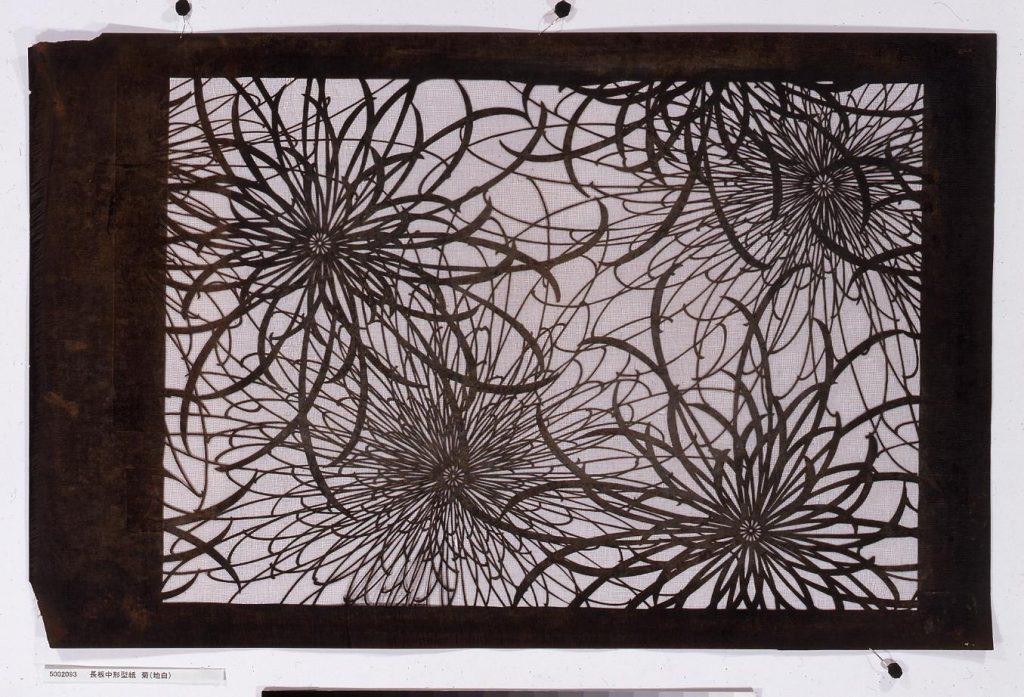 作品画像:長板中形型紙 菊(地白)
