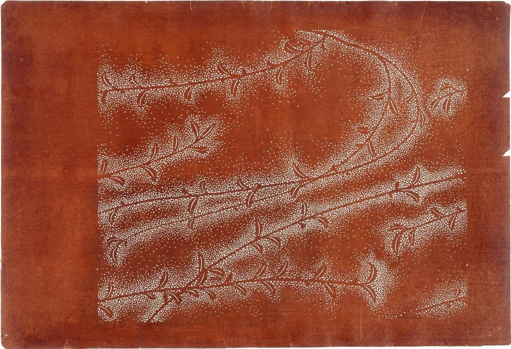 作品画像:長板中形型紙 木の芽にたたき(大判 追掛)