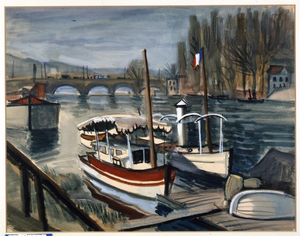 作品画像:橋と船