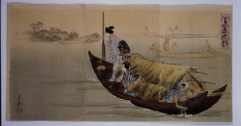 作品画像:美人名所合 利根川鯉漁