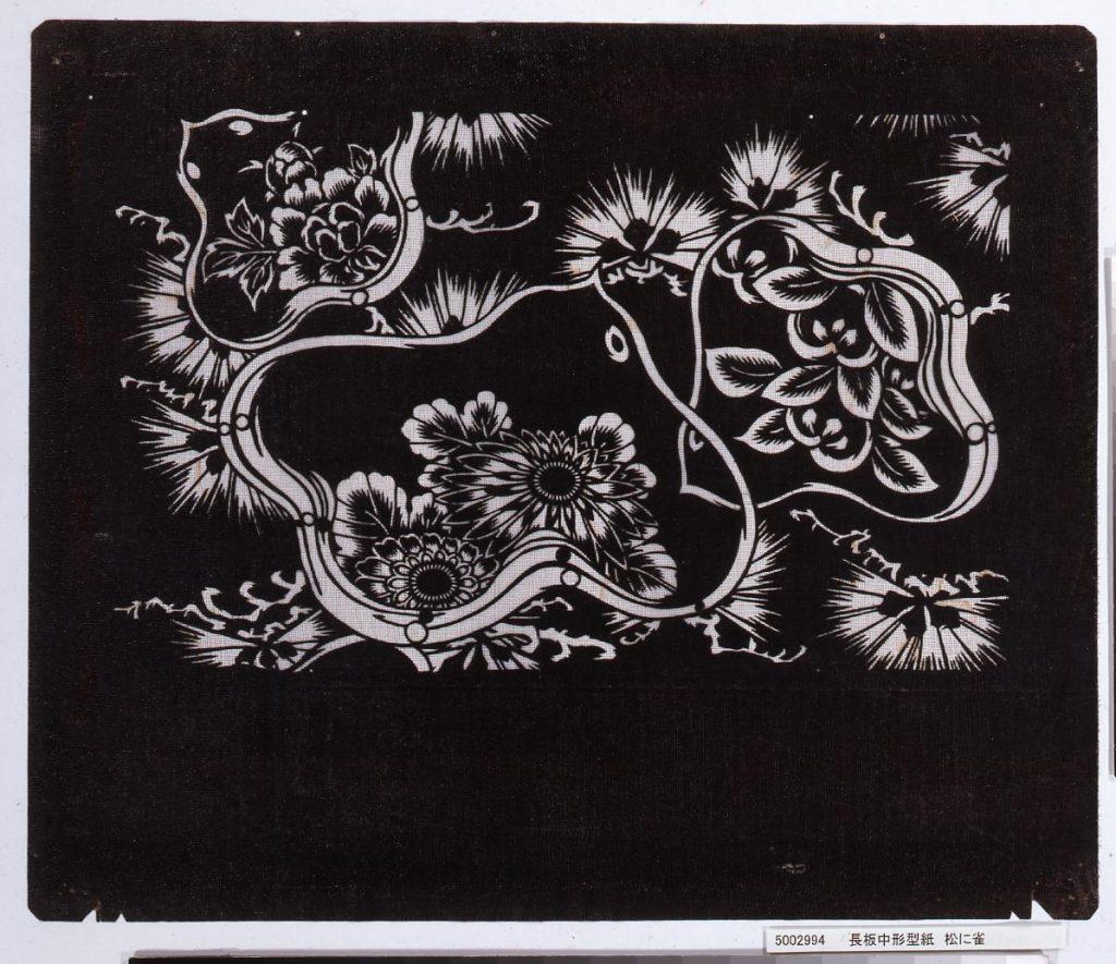 作品画像:長板中形型紙 松に雀