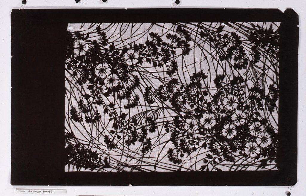 作品画像:長板中形型紙 秋草(地白)