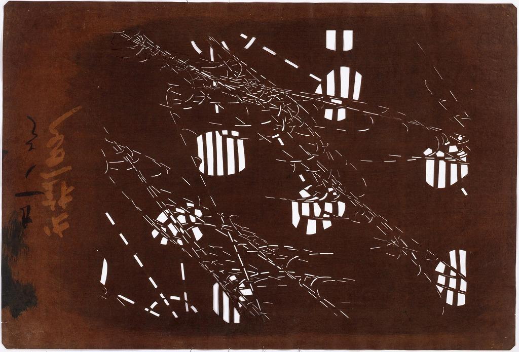 作品画像:長板中形型紙 水車にすすき(大判 追掛)