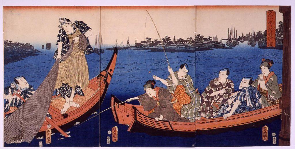 作品画像:夕涼永代橋遊漁の図