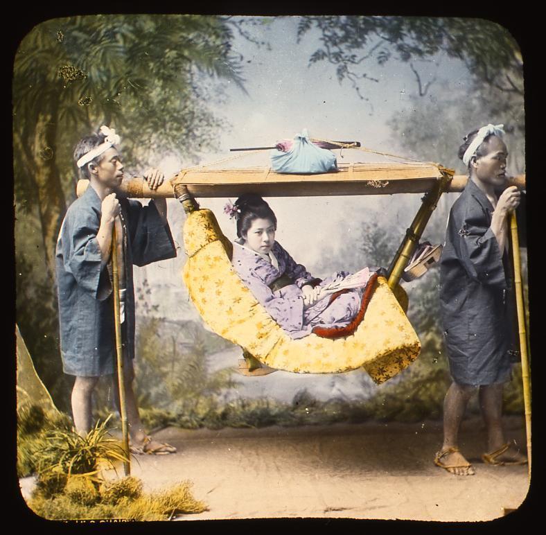作品画像:駕籠かきと女性客