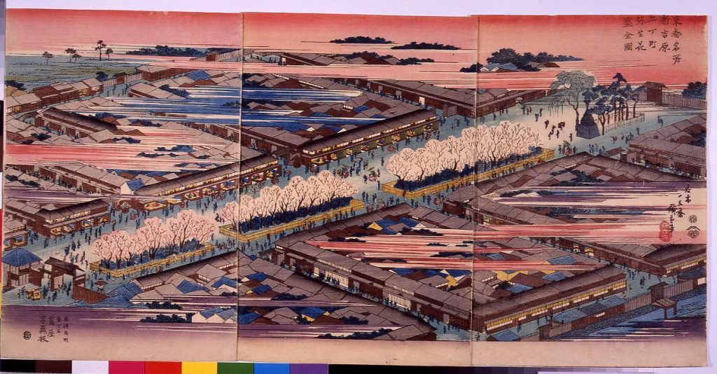 作品画像:東都名所新吉原五丁町弥生花盛全図