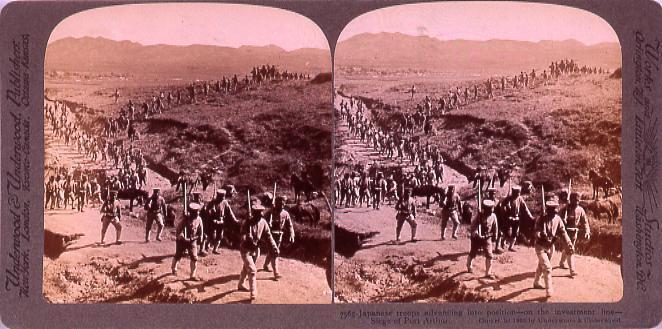 作品画像:Japanese troopsAdvancing into position―on the investment line―Siege of PortArthur. 7565