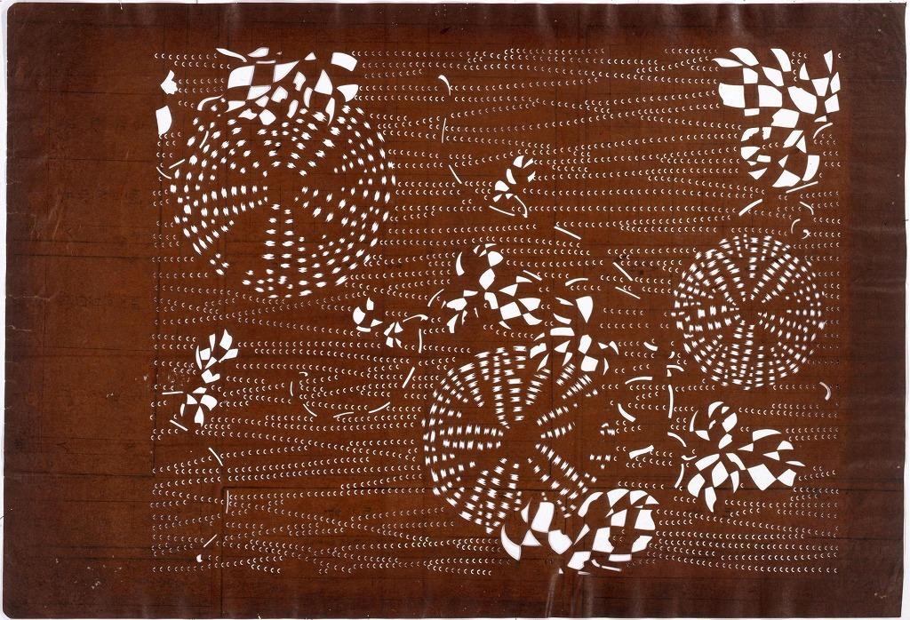 作品画像:長板中形型紙 朝顔(大判 追掛)