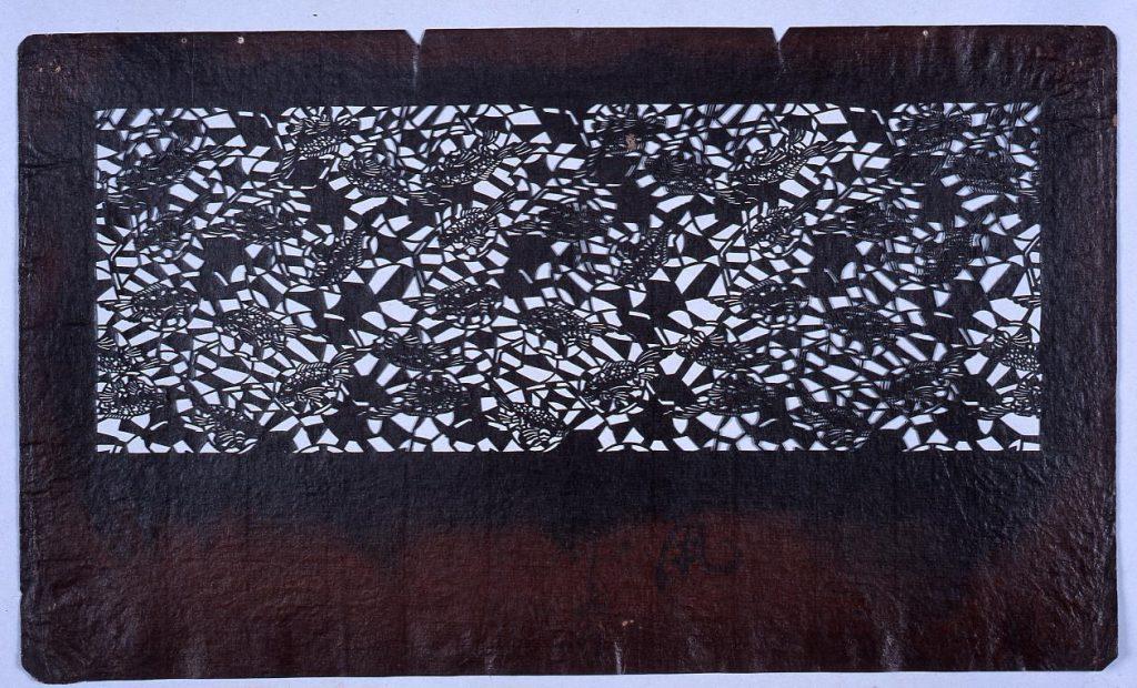 作品画像:長板中形型紙 ふぐ 合文(小判 追掛)
