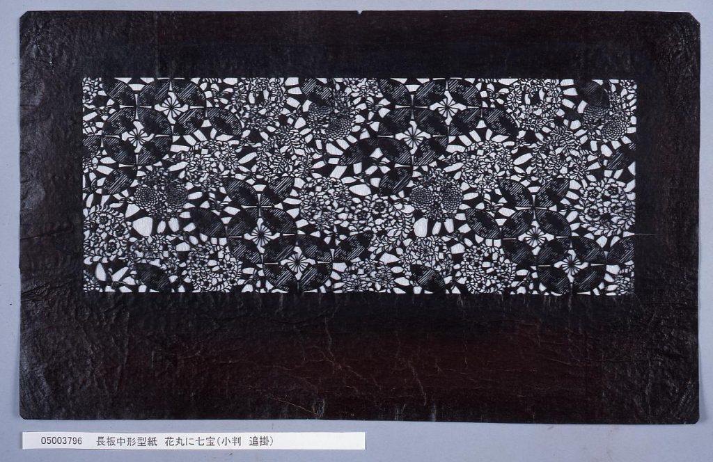 作品画像:長板中形型紙 花丸に七宝(小判 追掛)