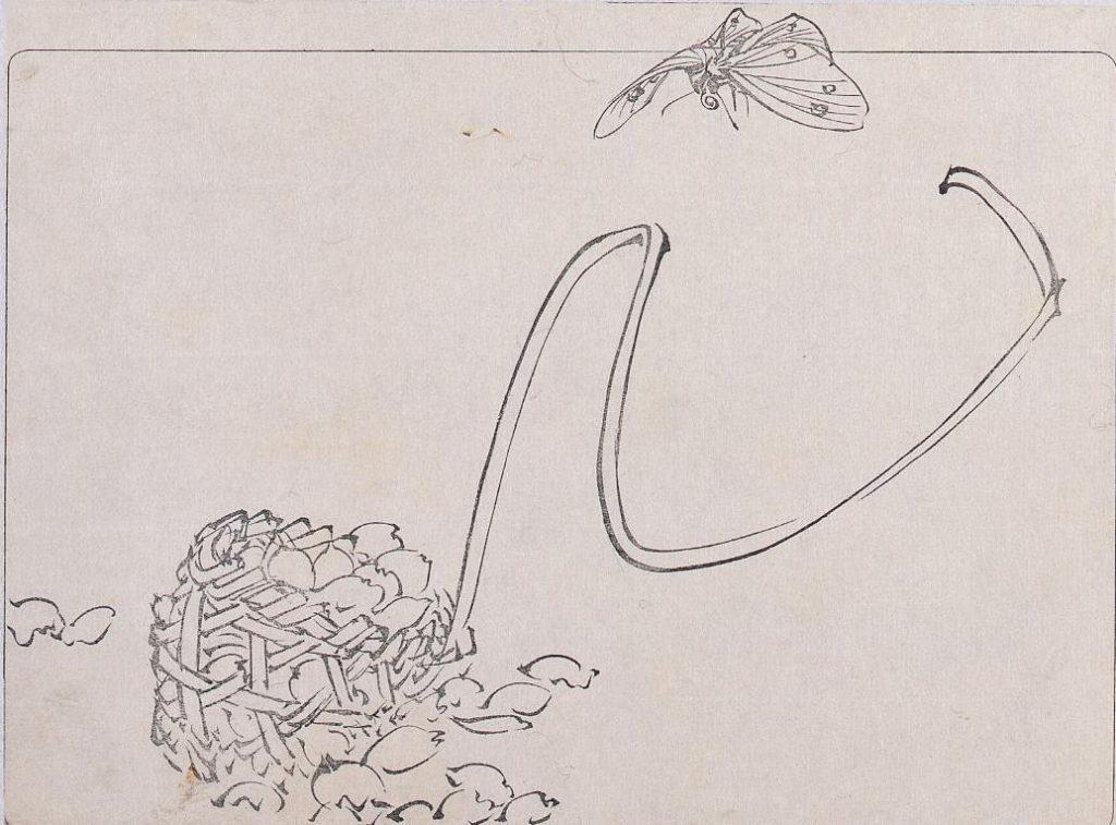 作品画像:墨版 花籠と蝶