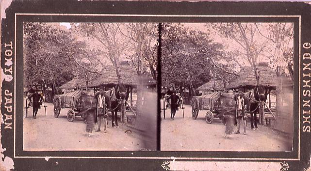 作品画像:街道の馬車と人力車