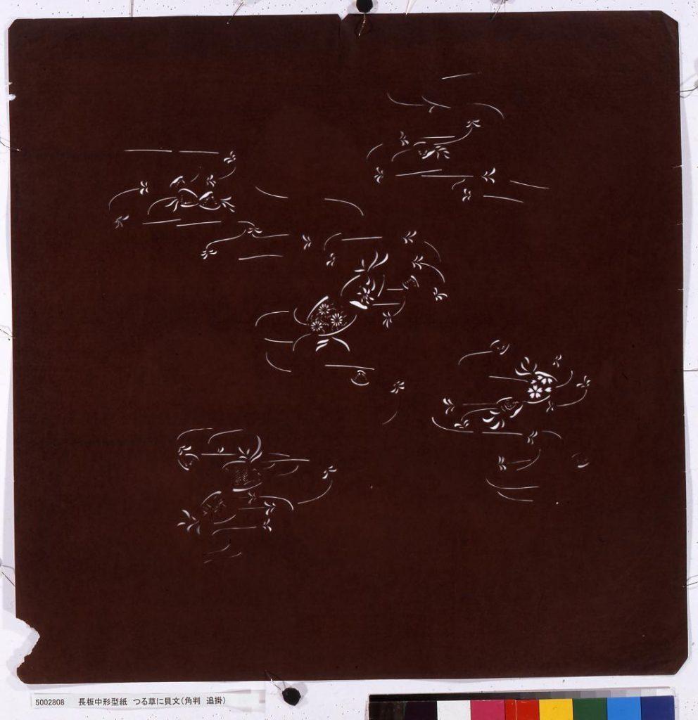 作品画像:長板中形型紙 つる草に貝文(角判 追掛)