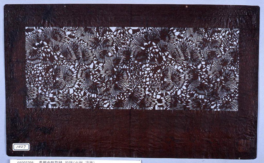 作品画像:長板中形型紙 松枝(小判 追掛)