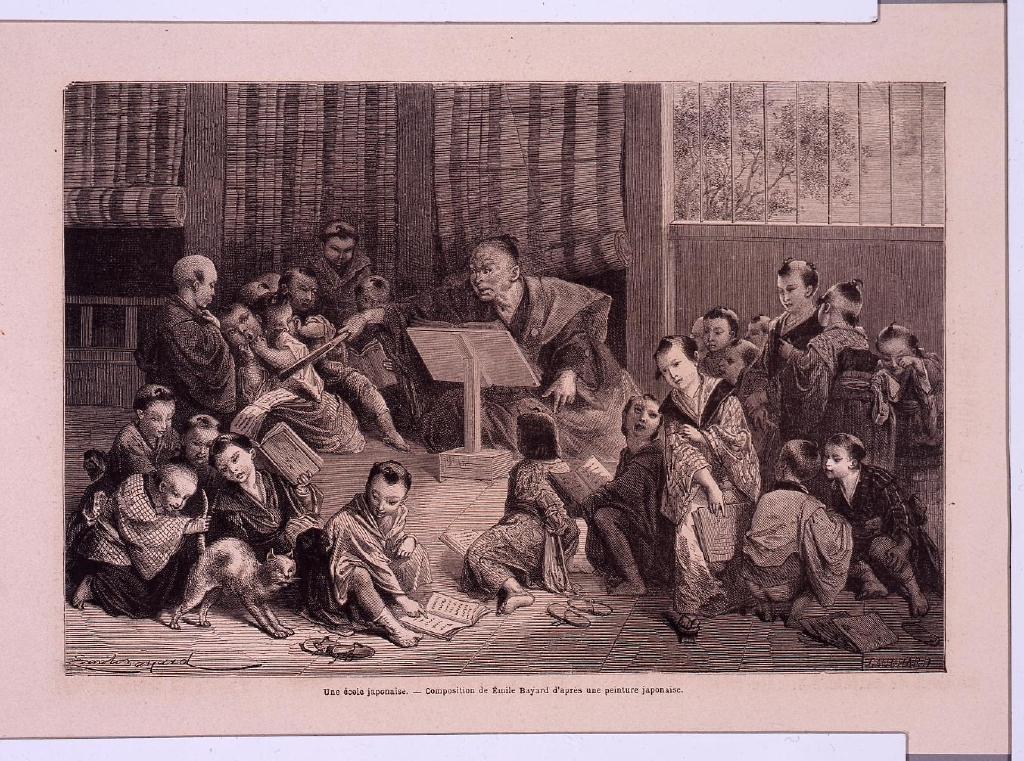 作品画像:アンベール「幕末日本図絵」挿絵 寺小屋,雪ダルマ,子供の相撲