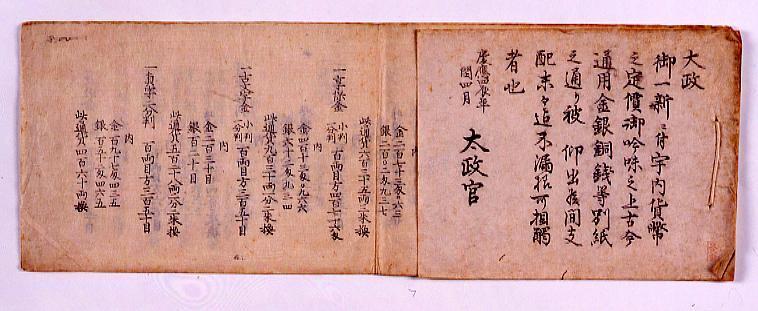 作品画像:太政官布告 通用金銀銅銭両替規則