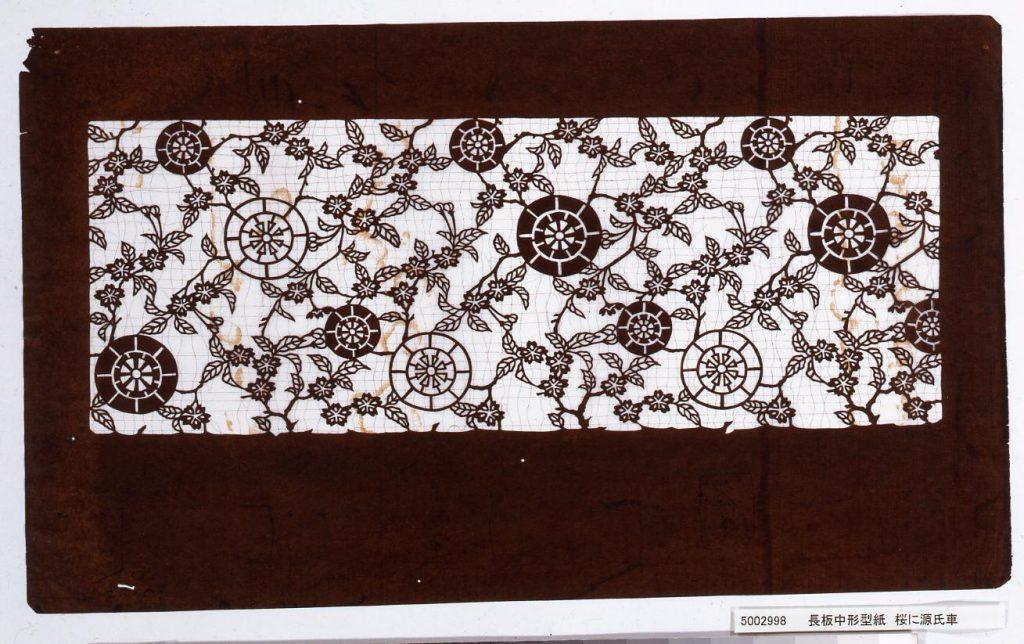 作品画像:長板中形型紙 桜に源氏車