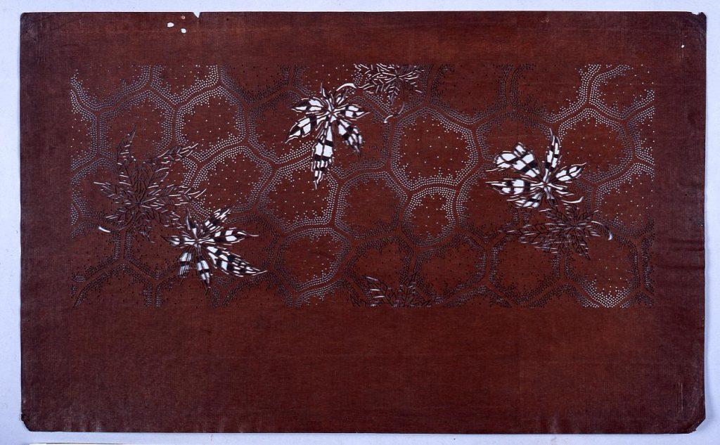作品画像:長板中形型紙 かえでに亀甲くずし (小判 追掛)