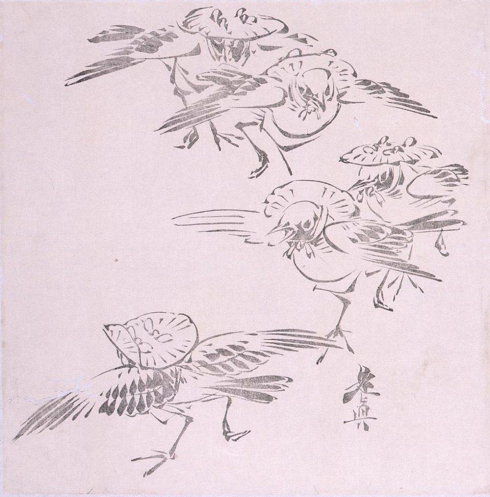 作品画像:墨版 雀の笠踊り