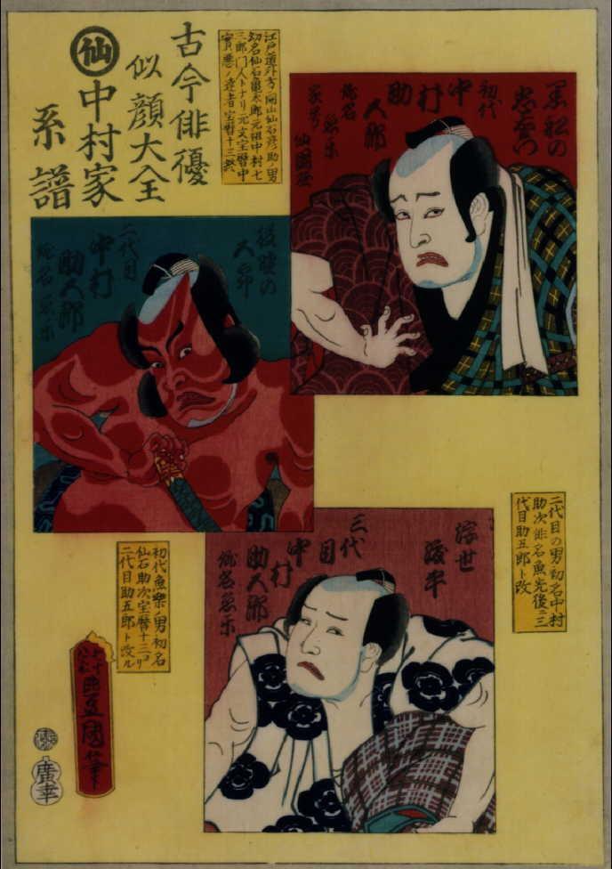 作品画像:古今俳優似顔大全 中村家系譜