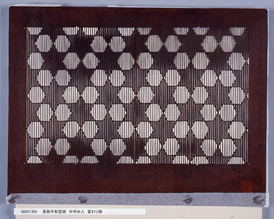 作品画像:長板中形型紙 中判糸入 変わり縞