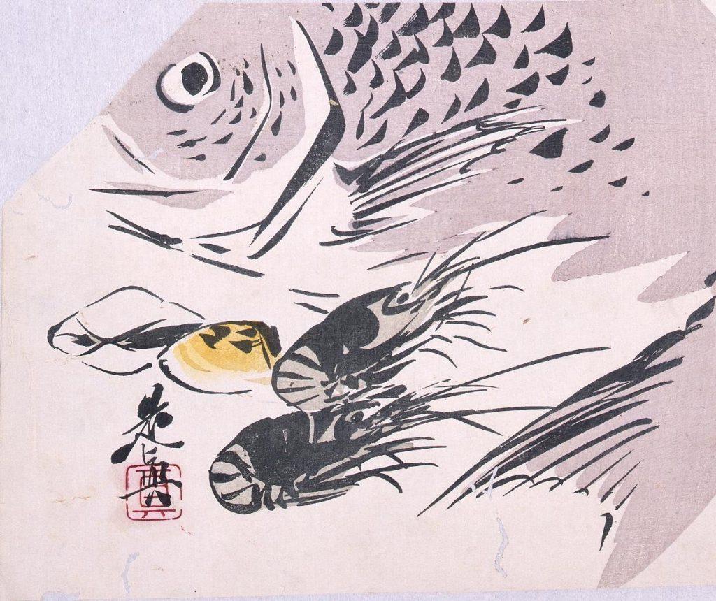 作品画像:多色刷版 鯛と海老・貝