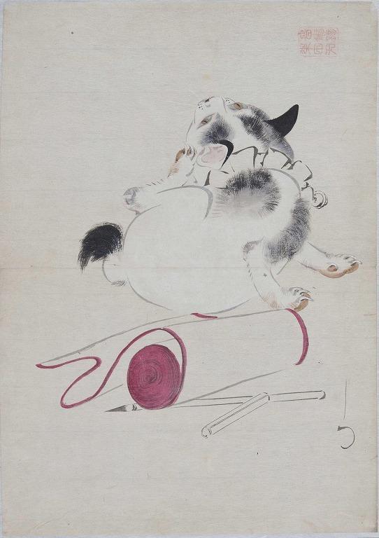 作品画像:猫と筆紙
