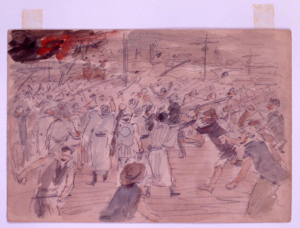 作品画像:日比谷焼打事件スケッチ 明治三十八年九月五日内相館邸ポンプ破壊