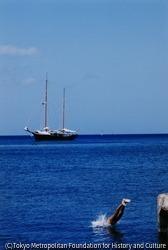 作品画像:ラフカディオ・ハーン(小泉八雲)が来日する以前、約2年間を過ごした西インド諸島のマルティニク島で、紺碧の海に飛び込む人