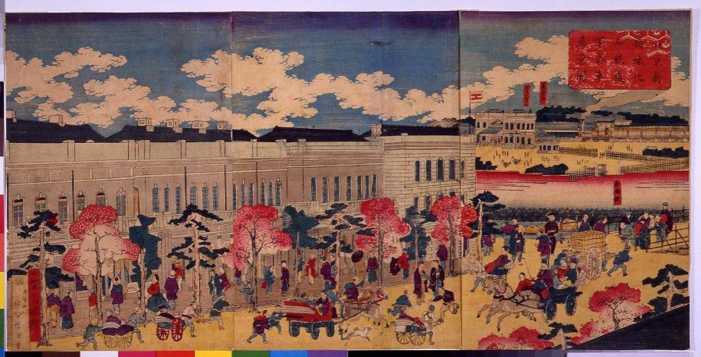 作品画像:東亰新橋煉化石鉄道蒸気車真景図