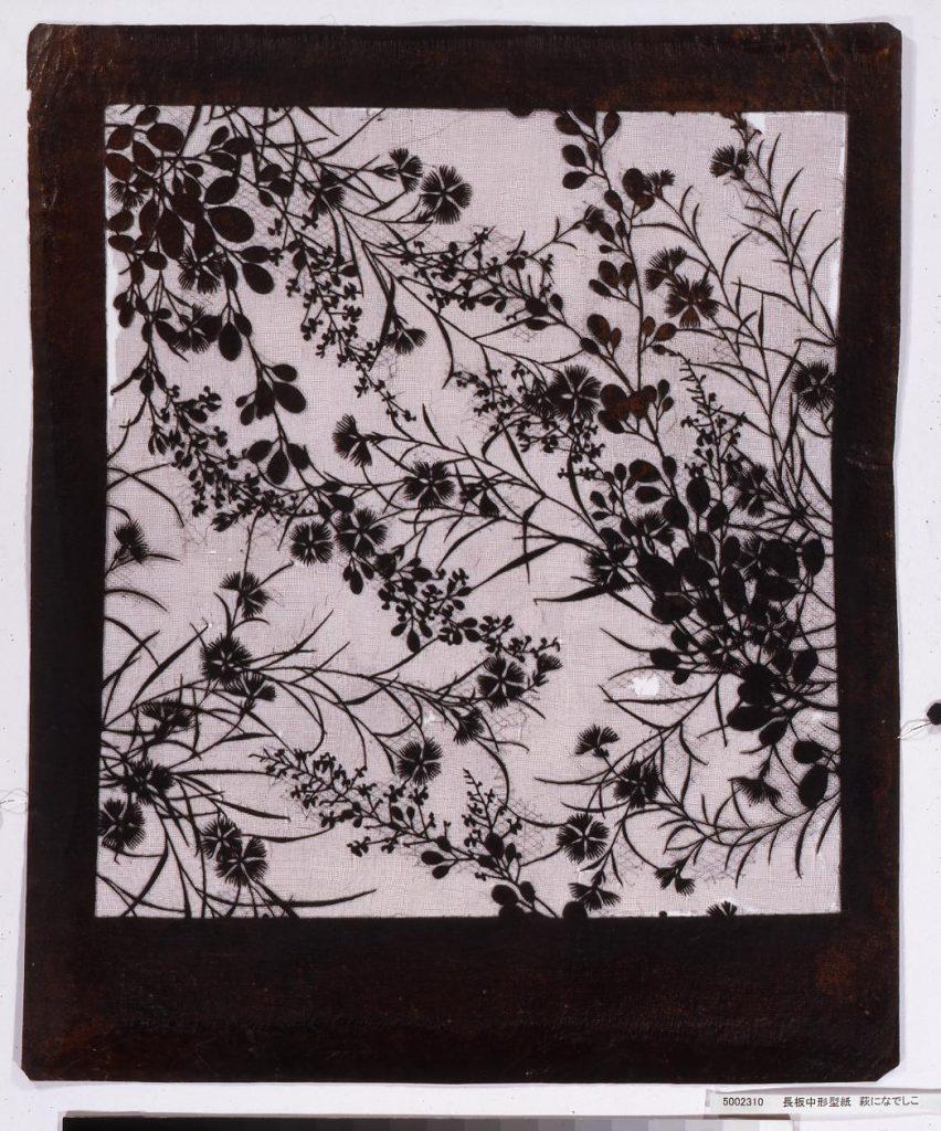 作品画像:長板中形型紙 萩になでしこ