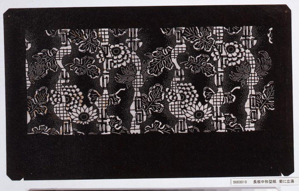 作品画像:長板中形型紙 菊に立涌