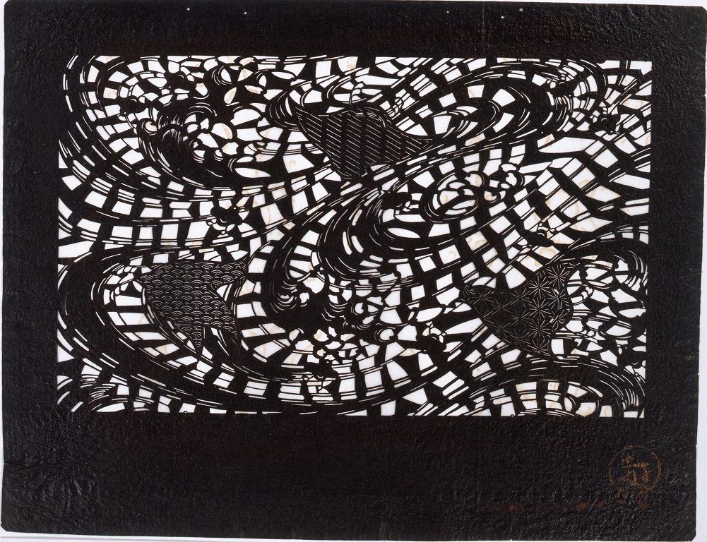 作品画像:長板中形型紙 浪に千鳥(小判 追掛)