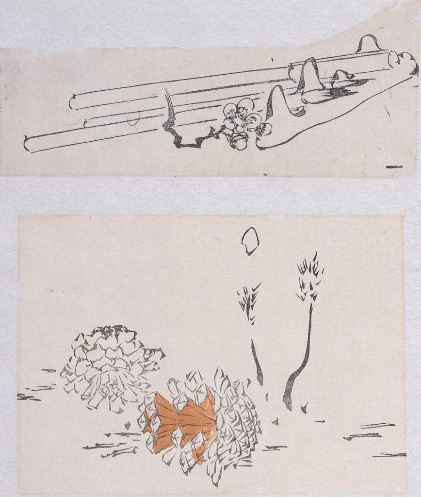 作品画像:着色墨版貼交 玩具と梅花、松笠
