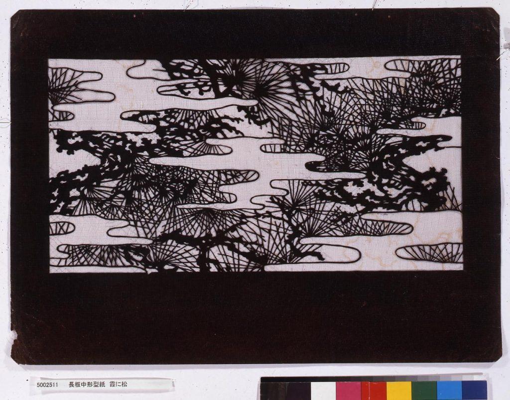 作品画像:長板中形型紙 霞に松