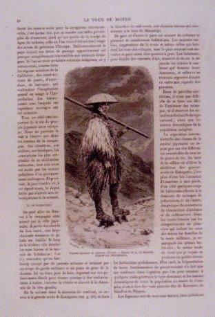 作品画像:アンベール「幕末日本図絵」挿絵 農村の夜景,蓑笠をつけた農民