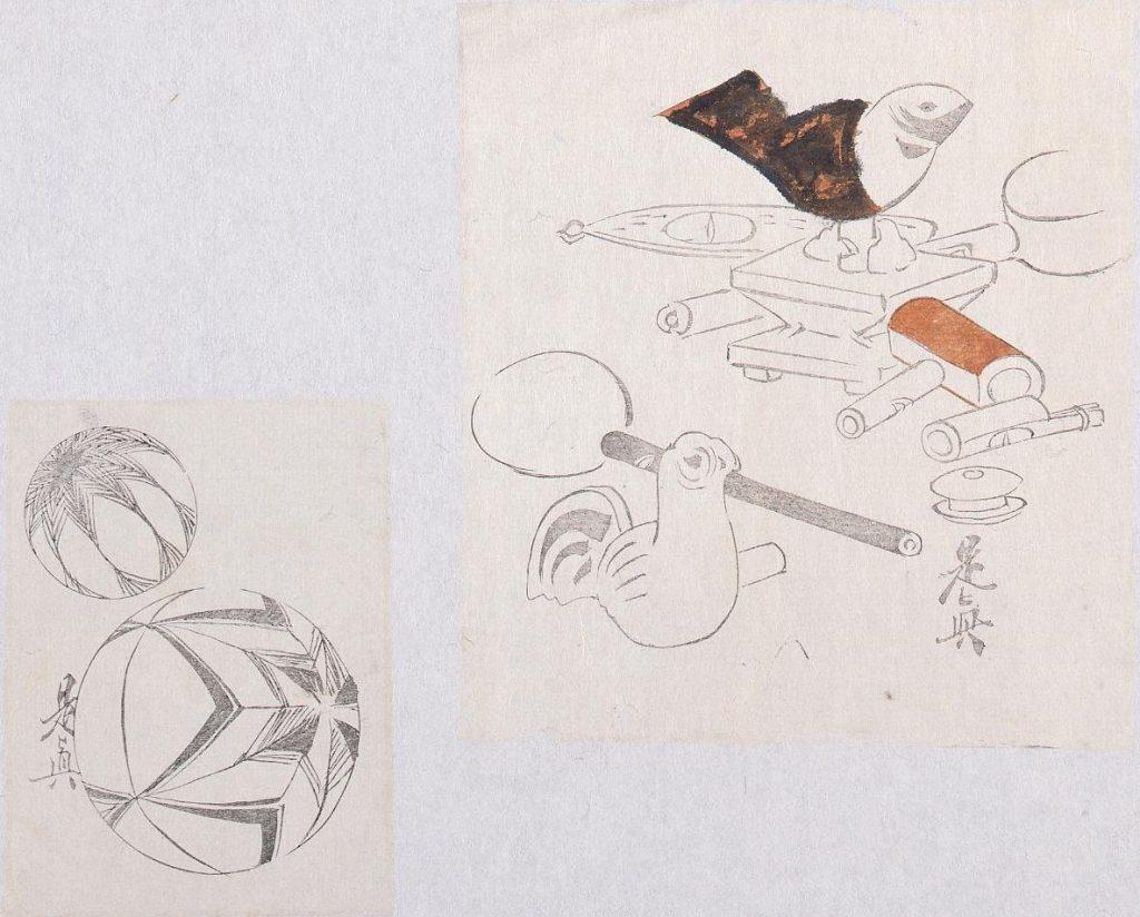 作品画像:着色墨版貼交 鳩笛、手毬