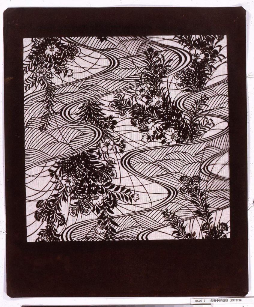 作品画像:長板中形型紙 波に秋草