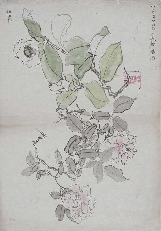 作品画像:薔薇に椿