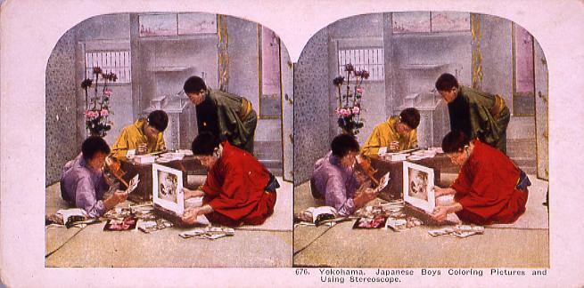 作品画像:Yokohama.Japanese Boys Coloring PicturesAnd Using Stereoscope.676