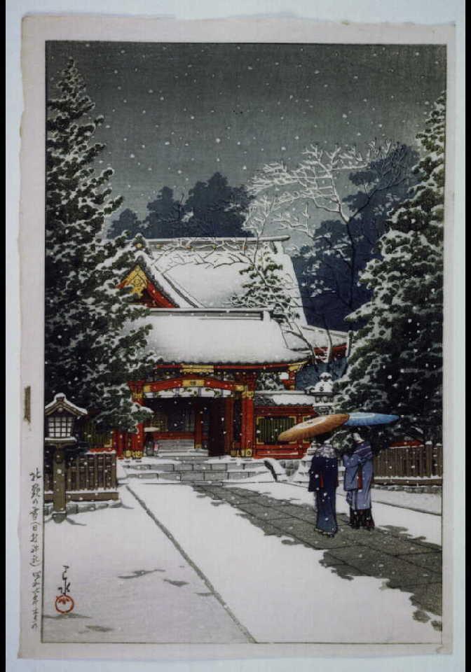作品画像:社頭の雪(日枝神社) 試摺