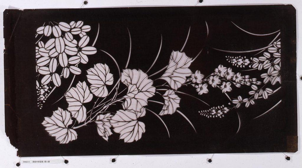 作品画像:長板中形型紙 萩に蘭