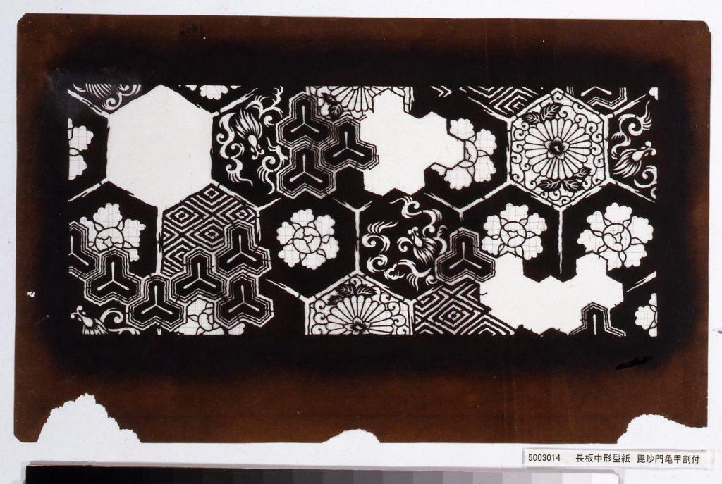 長板中形型紙 毘沙門亀甲割付