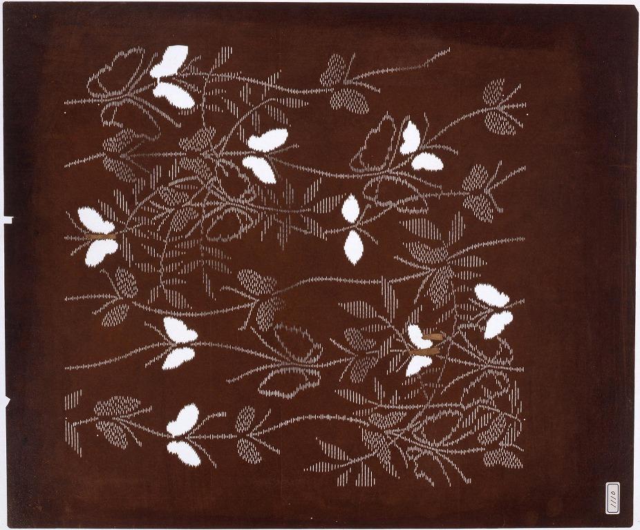 作品画像:長板中形型紙 立わく 蝶