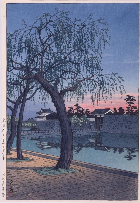 大手門の春の夕暮