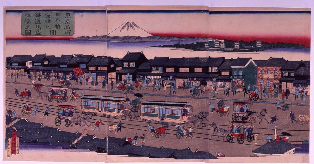 作品画像:東京名所 日本橋京橋之間 鉄道馬車往復之図