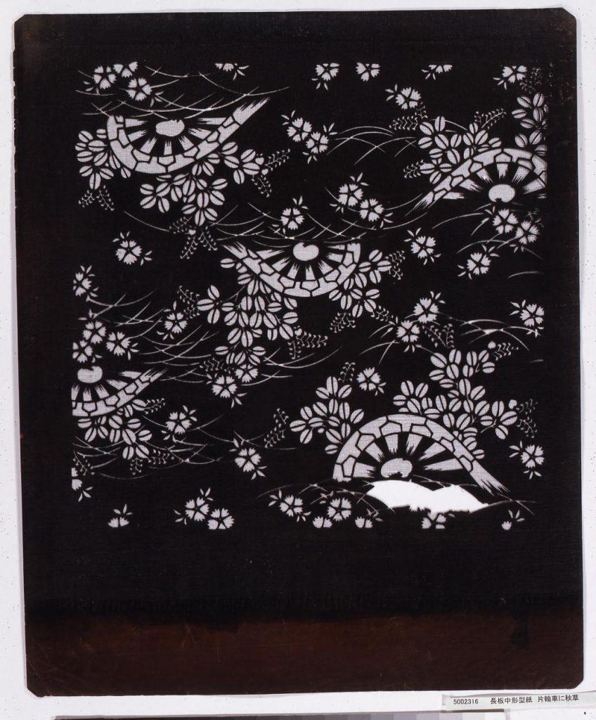 作品画像:長板中形型紙 片輪車に秋草