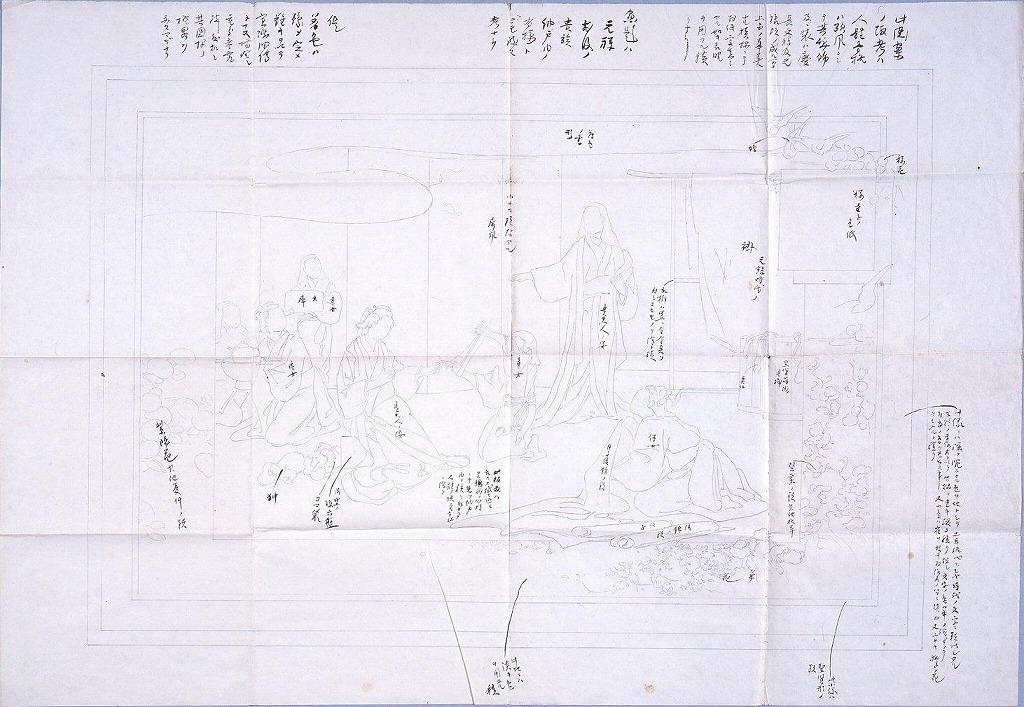 作品画像:図案 元禄前後の貴族 納戸内の有様