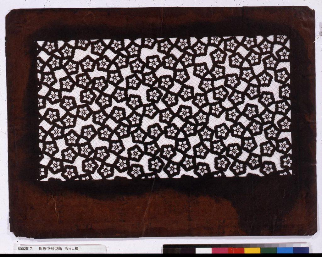 作品画像:長板中形型紙 ちらし梅