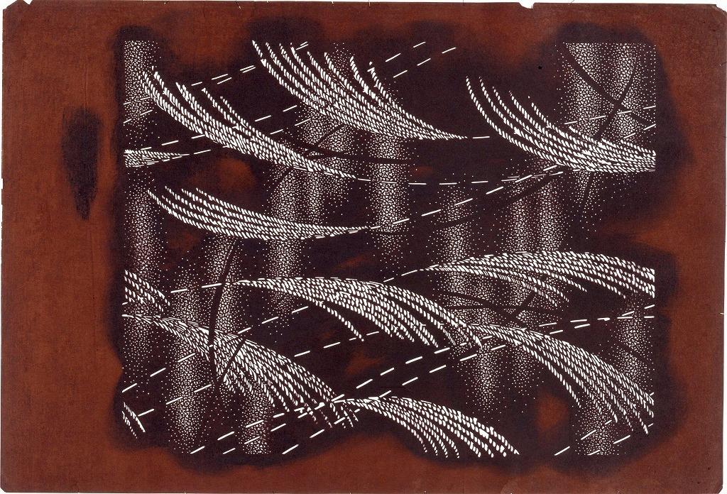 作品画像:長板中形型紙 すすきにたたき(大判 追掛)